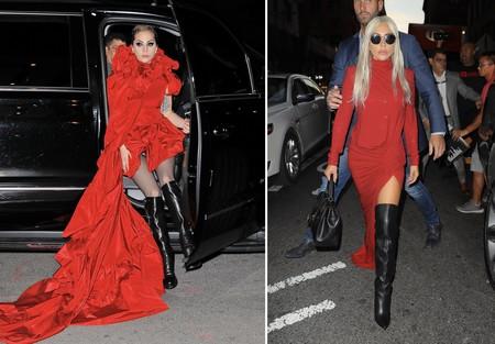Lady Gaga Rojo Botas Altas