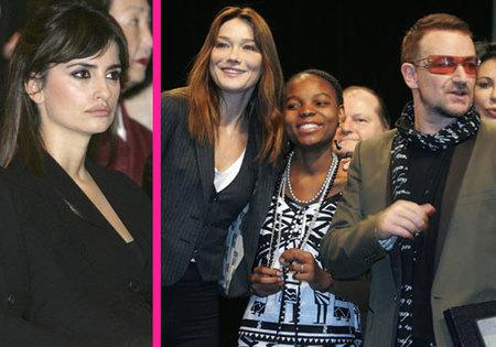 Penélope Cruz y Carla Bruni apoyan a Bono en la lucha contra la pobreza