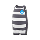 Nh Clothing Horizontal Striped Wet Suit Black