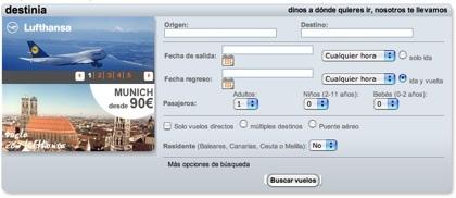 Nuevo motor de búsqueda de vuelos en Destinia