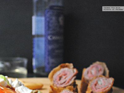 Flamenquines de ternera, jamón cocido y gorgonzola. Receta