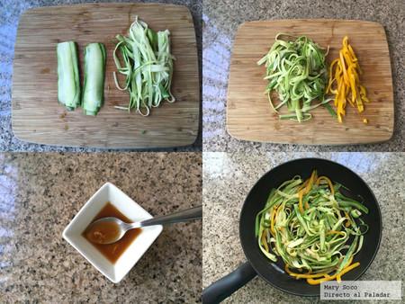 Noodles de calabacita con salsa de ajonjolí y cacahuate