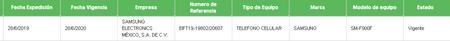 Registro Samsung Galaxy Fold Ift Mexico