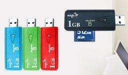 Lápiz USB con lector de tarjetas SD