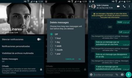 Pantallazos de la versión beta de WhatsApp.