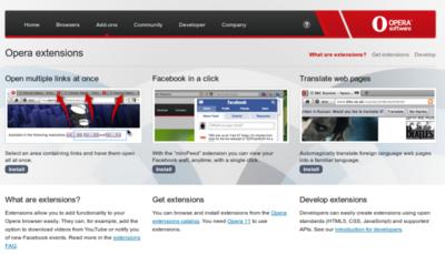 Las extensiones en Opera van despegando: LastPass, Twitter, Facebook, GMail y más