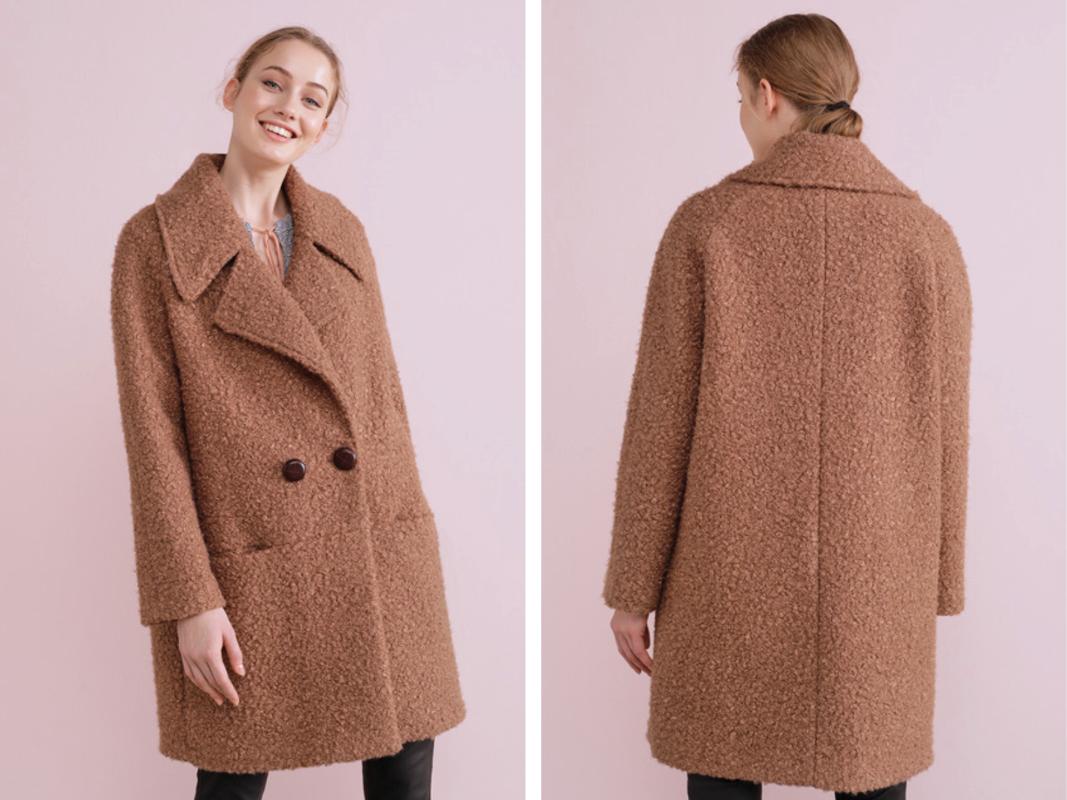 Abrigo rizado de mujer largo