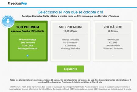 Freedompop, tarifas que se pueden contratar de inicio