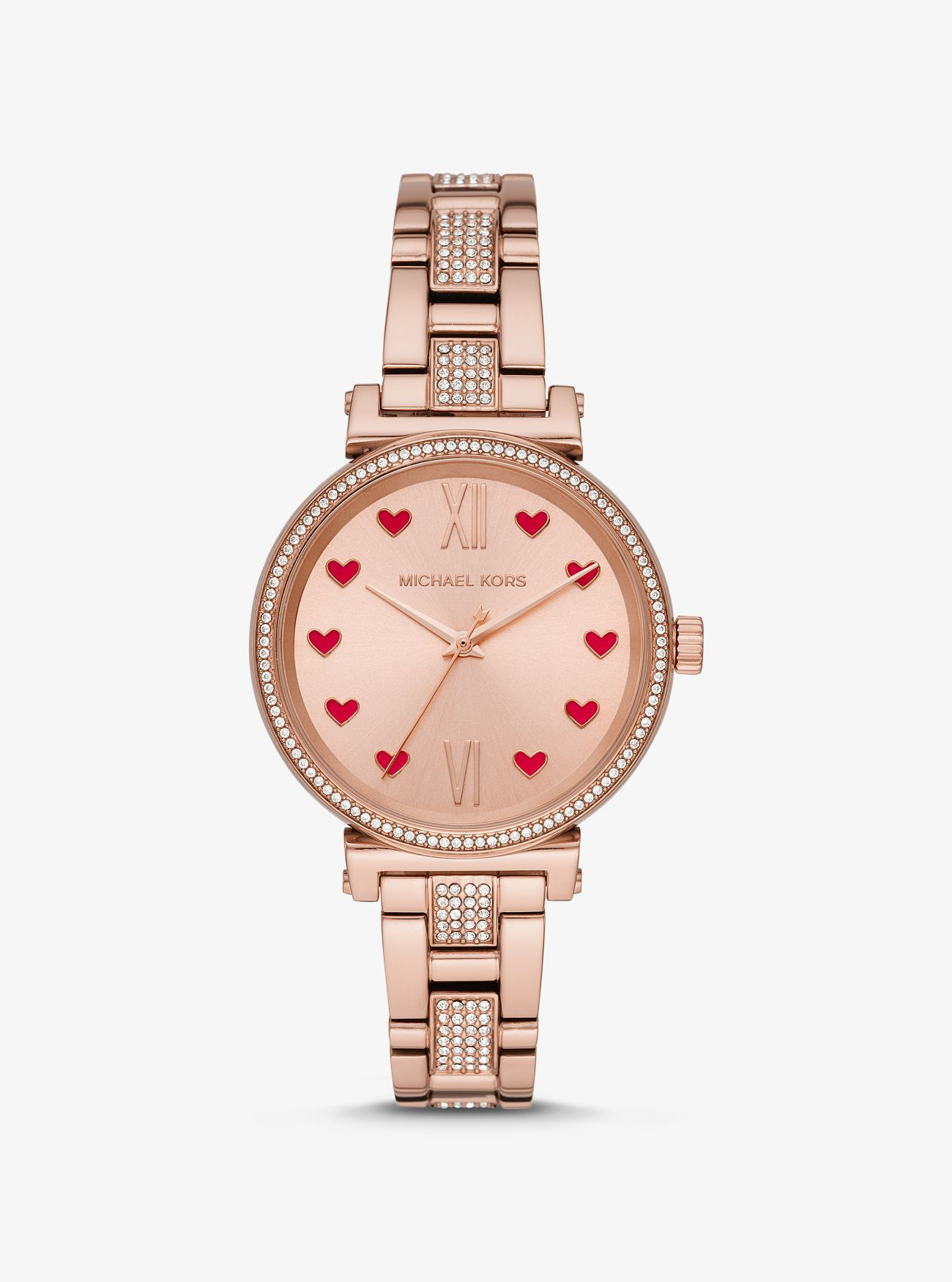 Reloj Sofie en tono dorado rosa con incrustaciones
