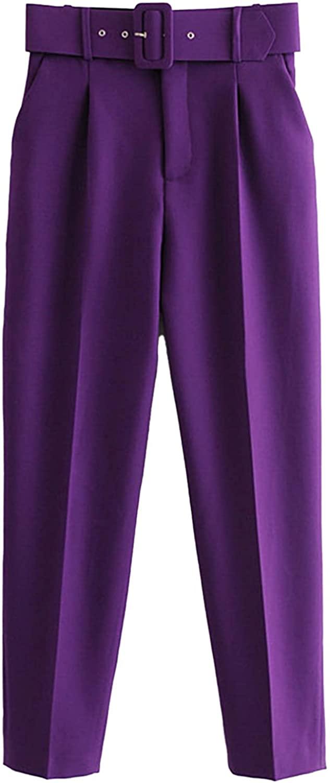 Agoky Pantalones de Cintura Alta para Mujer Pantalones de Oficina Color Sólido con Cinturón Ancho y Bolsillos Pantalones de Pinzas ?para Mujer XS-L
