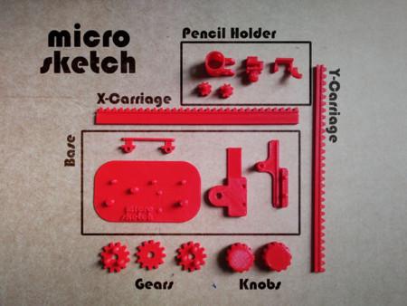 Despiece de las partes a fabricar con la impresora 3D para tener nuestro Telesketch