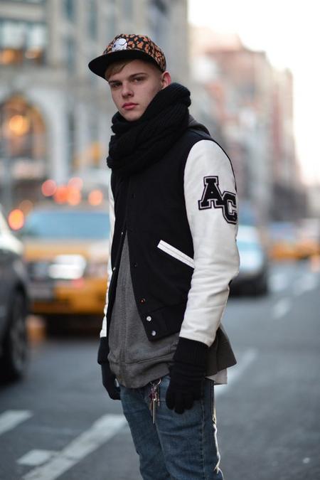 Street-style varsity jacket