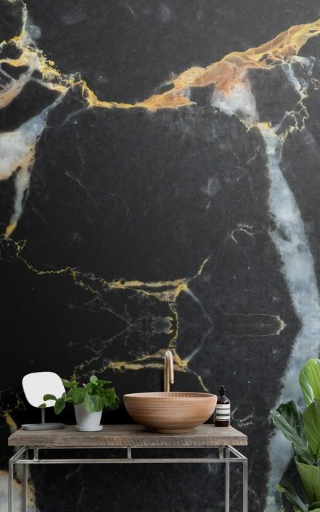 Papel Pintado Efecto Marmol Oscuro Negro Y Dorado Lifestyle Web