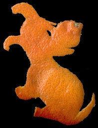 Figuras hechas con cáscara de naranja