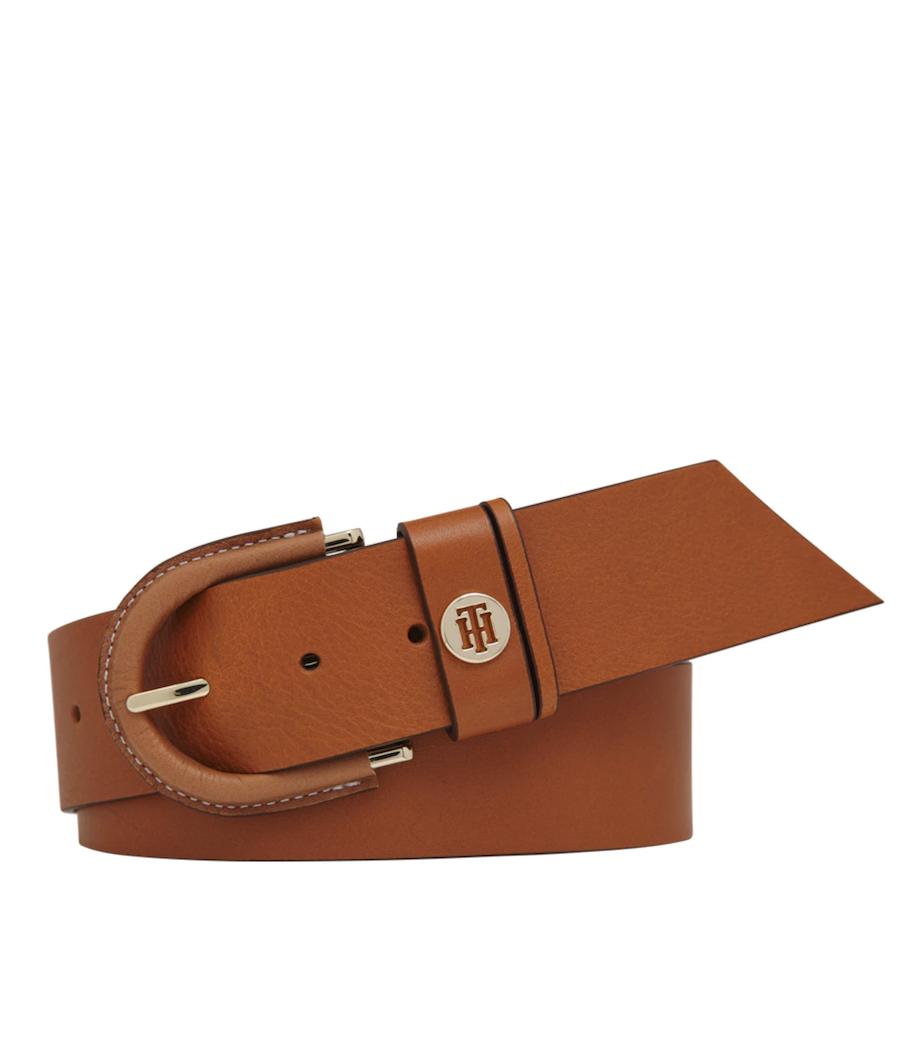Cinturón ancho de mujer Tommy Hilfiger de piel en marrón