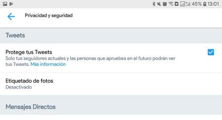 Un error en Twitter para Android hizo públicos los tuits privados de algunas cuentas, desde 2014