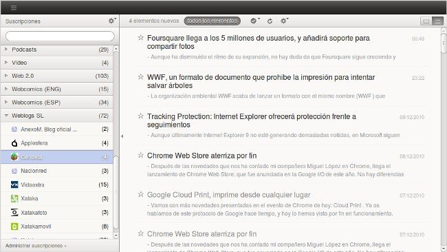 Lee Google Reader como en el iPhone o iPad con Pure Reeder