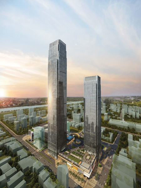 12 Changsha Ifs Tower T1 The Skyscwong Tung Changsha Ifs 03 Aerial Dusk