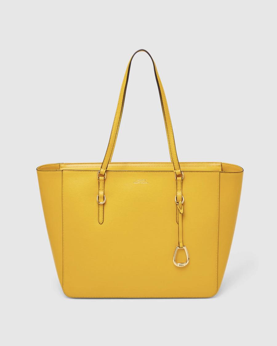 Tote Lauren Ralph Lauren de piel bovina en amarillo con cremallera