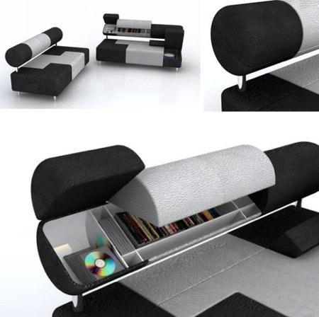 Un sof con compartimentos para almacenaje for Sofa con almacenaje