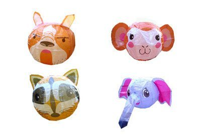 Globos de papel con figuras de animales