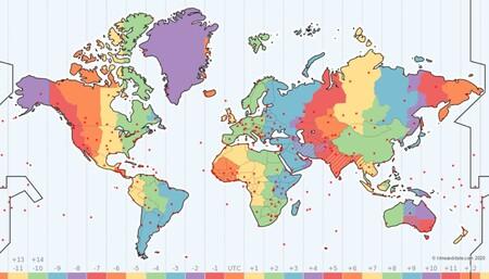 Este mapa interactivo nos descubre los husos horarios, cuándo se producen los cambios de hora y otros datos interesantes
