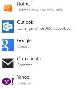 Agregar otras cuentas en Correo de Windows 8