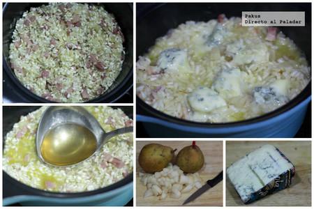 risotto gorgonzola y pera pasos