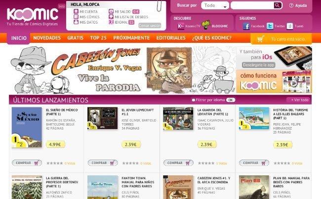 koomic portada web comic tienda