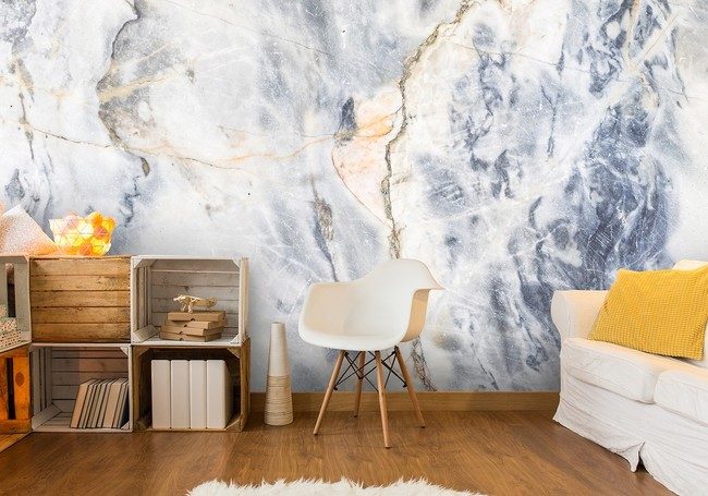Blue And White Marble Wall Mural By Wallsauce Com