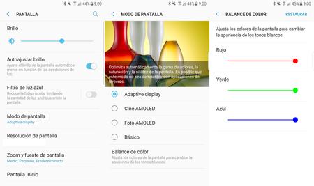 Ajustes de pantalla del Galaxy S8
