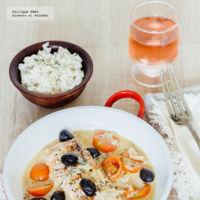Salmón con aceitunas negras y tomates cherry. Receta