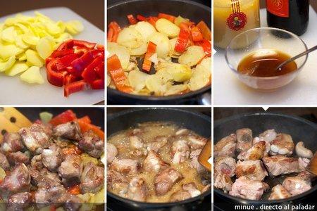Patatas a lo pobre con costillas - elaboración