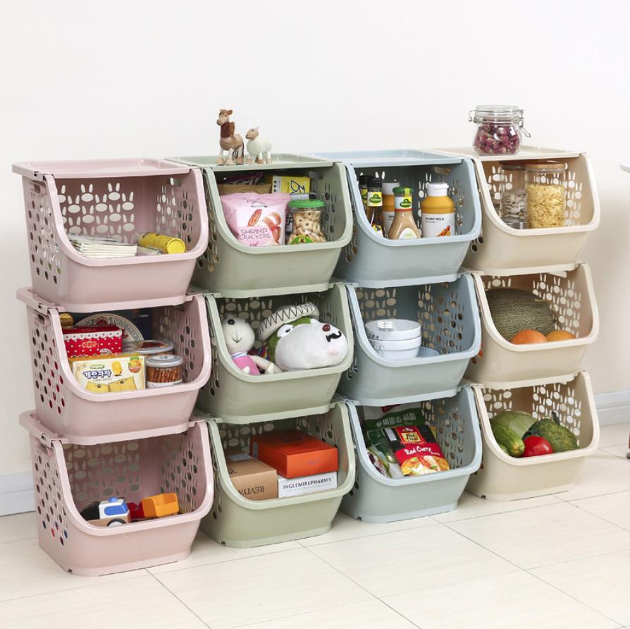 Cesta de almacenamiento de cocina 2020, estantería de plástico multifuncional para verduras y frutas, cesta de almacenamiento apilada, organizador, caja de almacenamiento