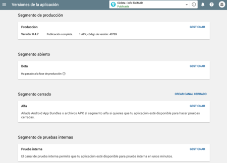 Gestion Versiones Google Play Console