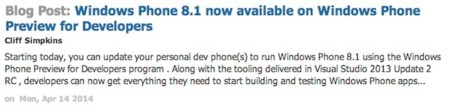 Windows Phone 8.1 Preview for Developers