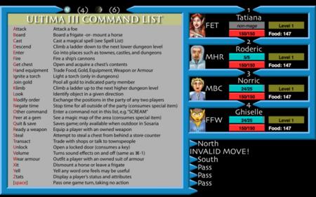 Ultima III exodus, comandos del juego