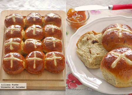 Receta de hot cross buns, panecillos británicos de Viernes Santo