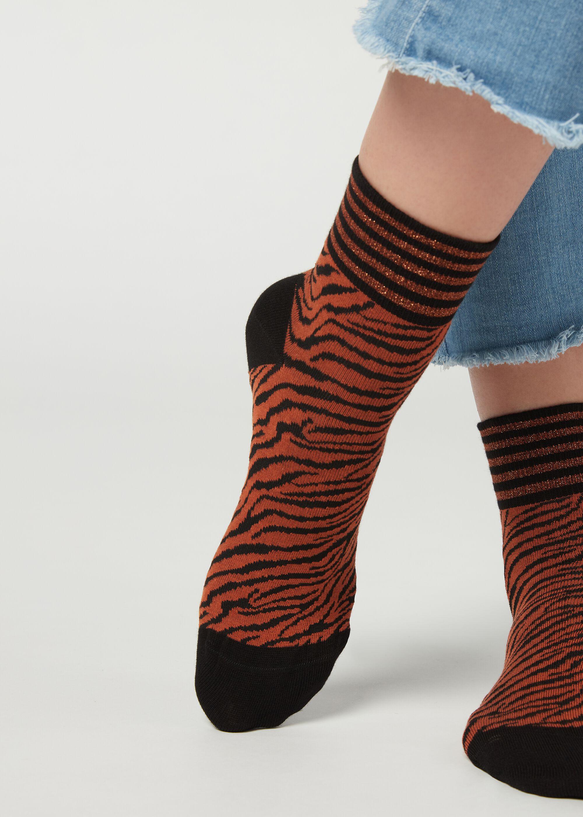 Calcetines Cortos de Algodón con Estampado Animal