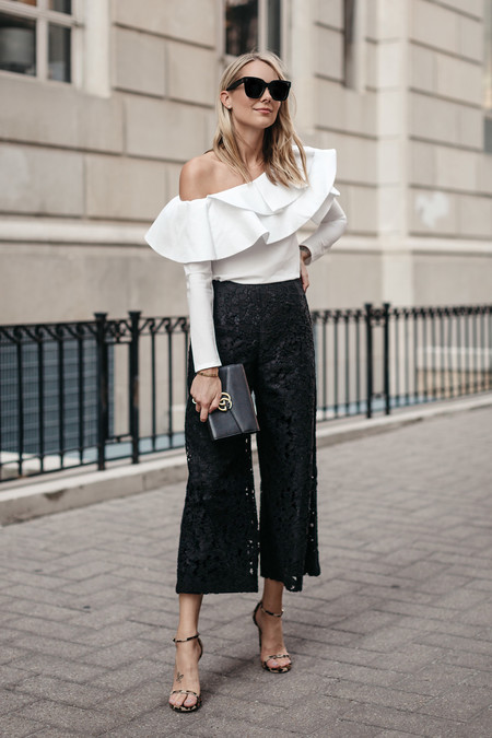 Fashion Jackson White One Shoulder Ruffle Top Black Lace Culottes Gucci Marmont Handbag Leopard Heels