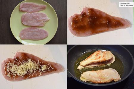 Pechugas de pollo rellenas de Mermelada y Queso. Pasos
