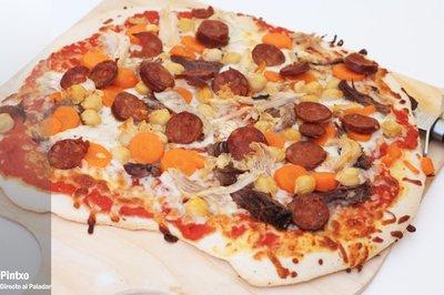 Receta de pizza de restos del cocido