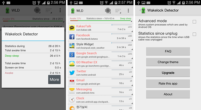 Android Apps wakelock Battery Detector