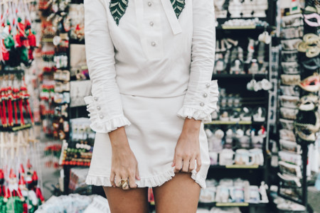 Firenze4ever Luisa Via Roma Gucci White Dress Gucci Gold Sandals Outfit Florence Street Style 40