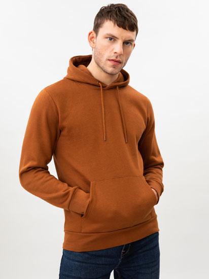 Sudadera básica con capucha color marrón
