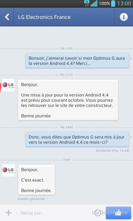 LG Francia Android 4.4 Kitkat octrubre LG Optimus G