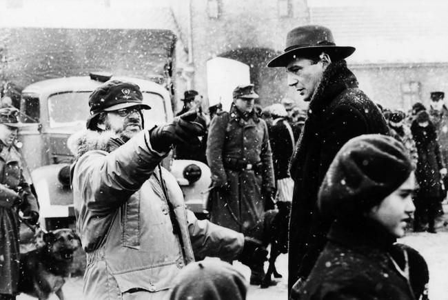 Steven Spielberg directing Liam Neeson in Schindler