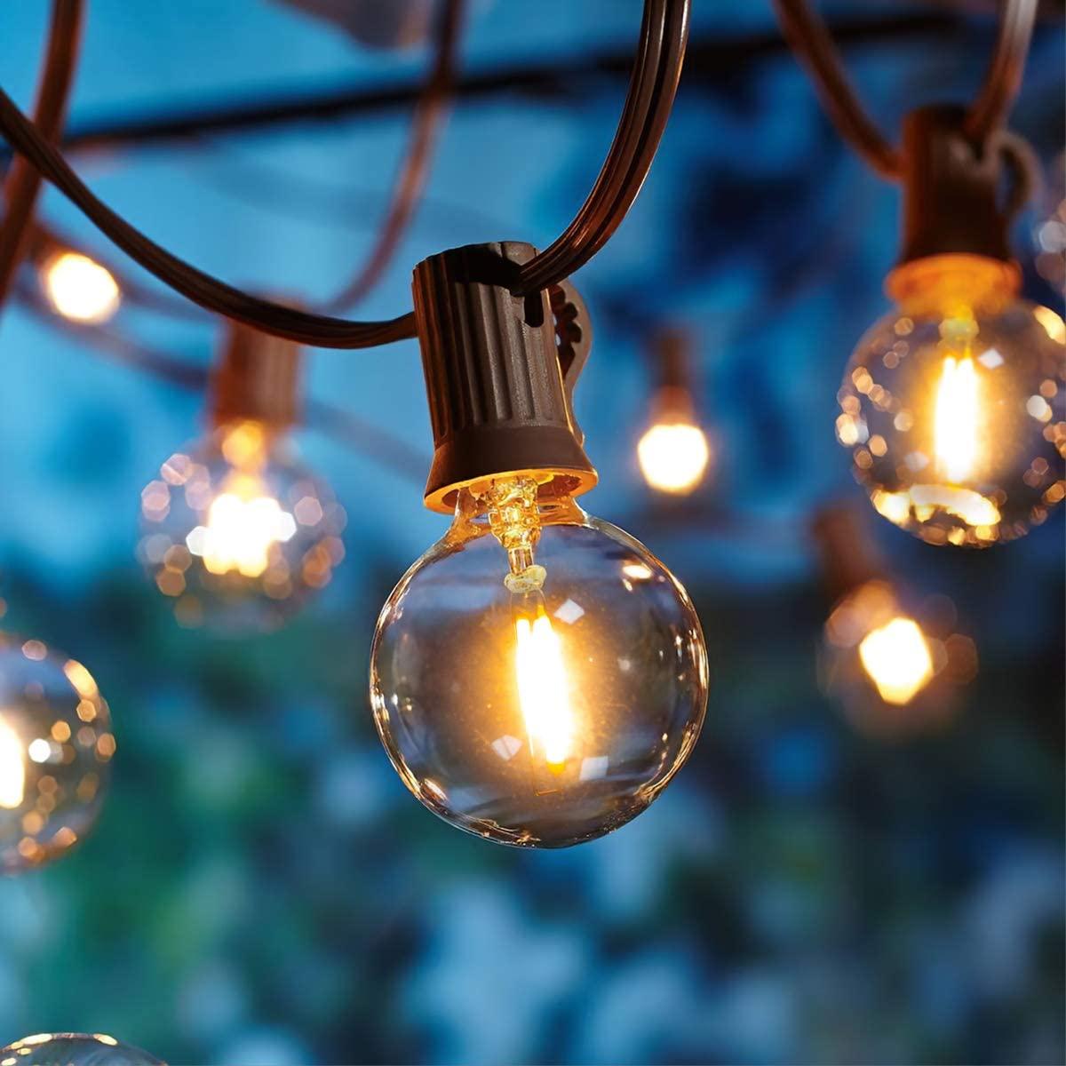 Guirnaldas luminosas de exterior,[LED Versión] OxyLED G40 9 Metros 25 bombillas Luces de la secuencia del jardín al aire libre,Decorative String Luces,Garden Terrace Luces de patio de Navidad [Clase de eficiencia energética A+++]