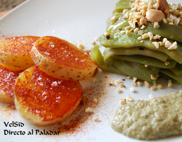 Judías verdes con salsa de berberechos y almendras