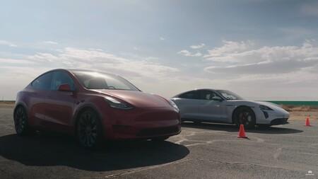 Porsche Taycan Drag Race Tesla Model Y 2
